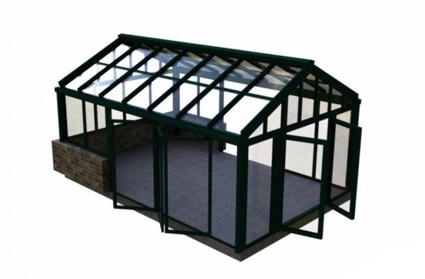 aluminiumstomme vinterträdgård vikpartier