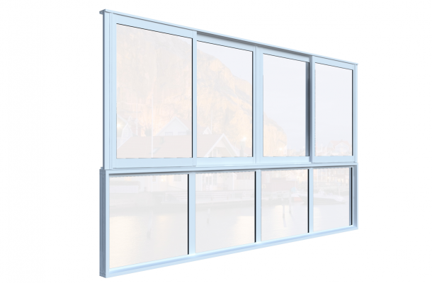 skjutfönster med bröstning mötesöppning vinter vit