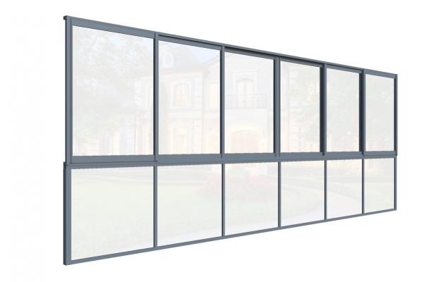 glasparti skjutfönster med bröstning sommar grå