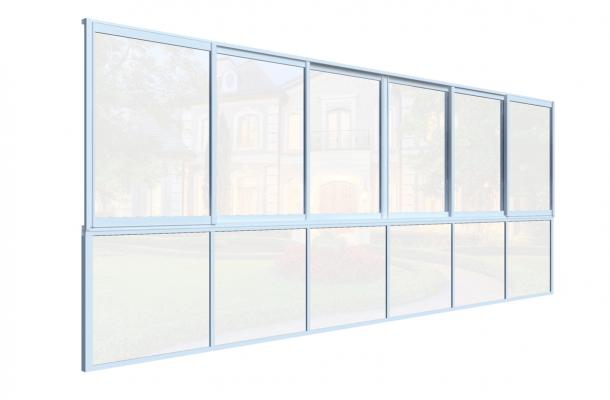 glasparti skjutfönster med bröstning sommar vit