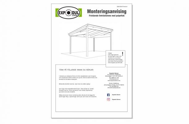 fristående pulpettak monteringsanvisning ladda ned pdf