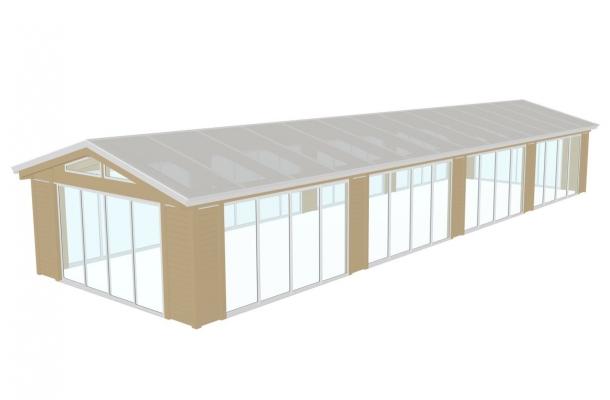 uterum överbyggnad poolhus glaspartier